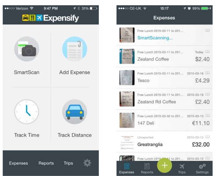 Expensify software screenshot