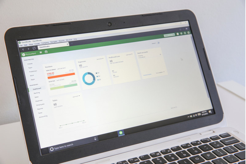 QuickBooks screen on laptop