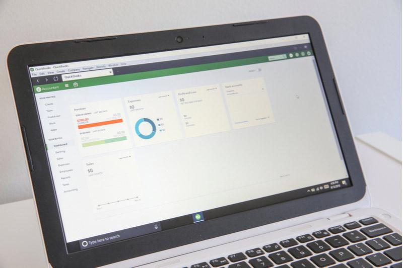 QuickBooks screen on laptop